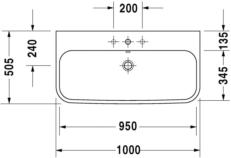Умивальник Duravit Happy D.2 для меблів шліфований 2318100027