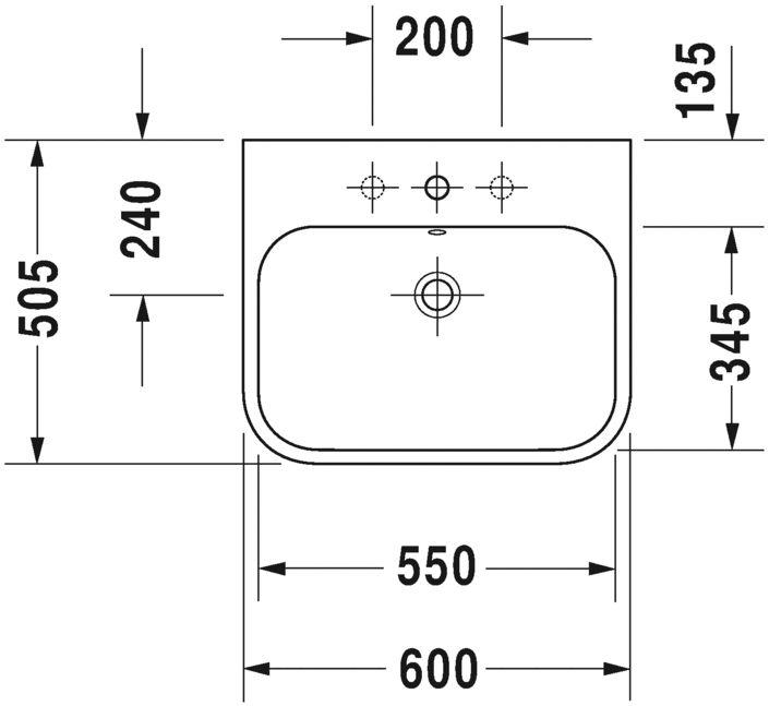Умивальник Duravit Happy D.2 для меблів шліфований 2318600027