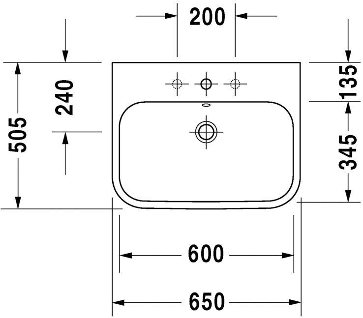 Умивальник Duravit Happy D.2 для меблів шліфований 2318650027