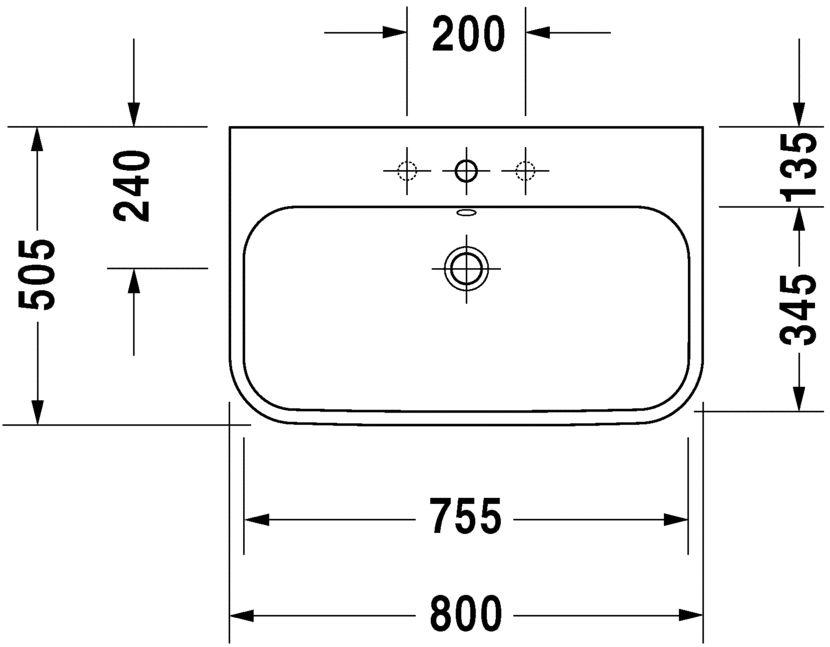 Умивальник Duravit Happy D.2 для меблів шліфований 2318800027