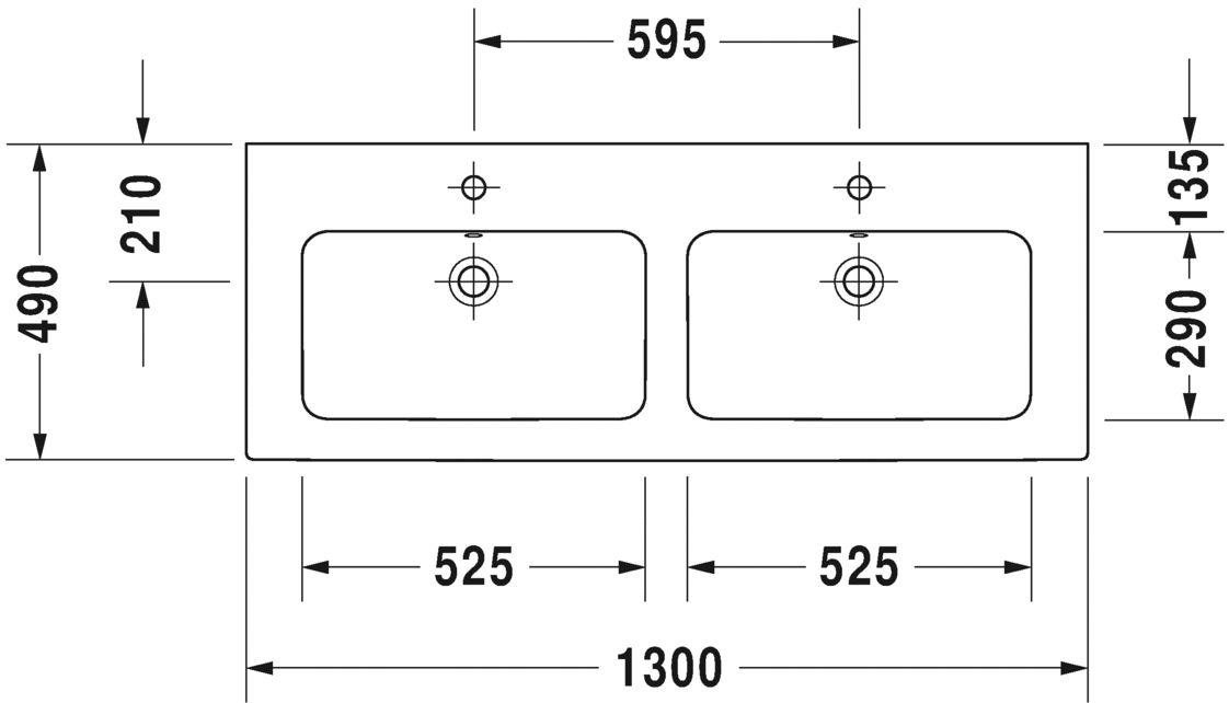 Подвійний умивальник Duravit Me by Starck для меблів 2336130000