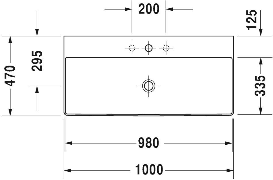 Умывальник Duravit DuraSquare для мебели 2353100041
