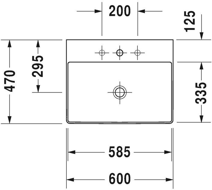 Умивальник Duravit DuraSquare для меблів 2353600041