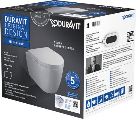 Комплект підвісного унітазу Duravit Me by Starck компакт Duravit Rimless 45300900A1