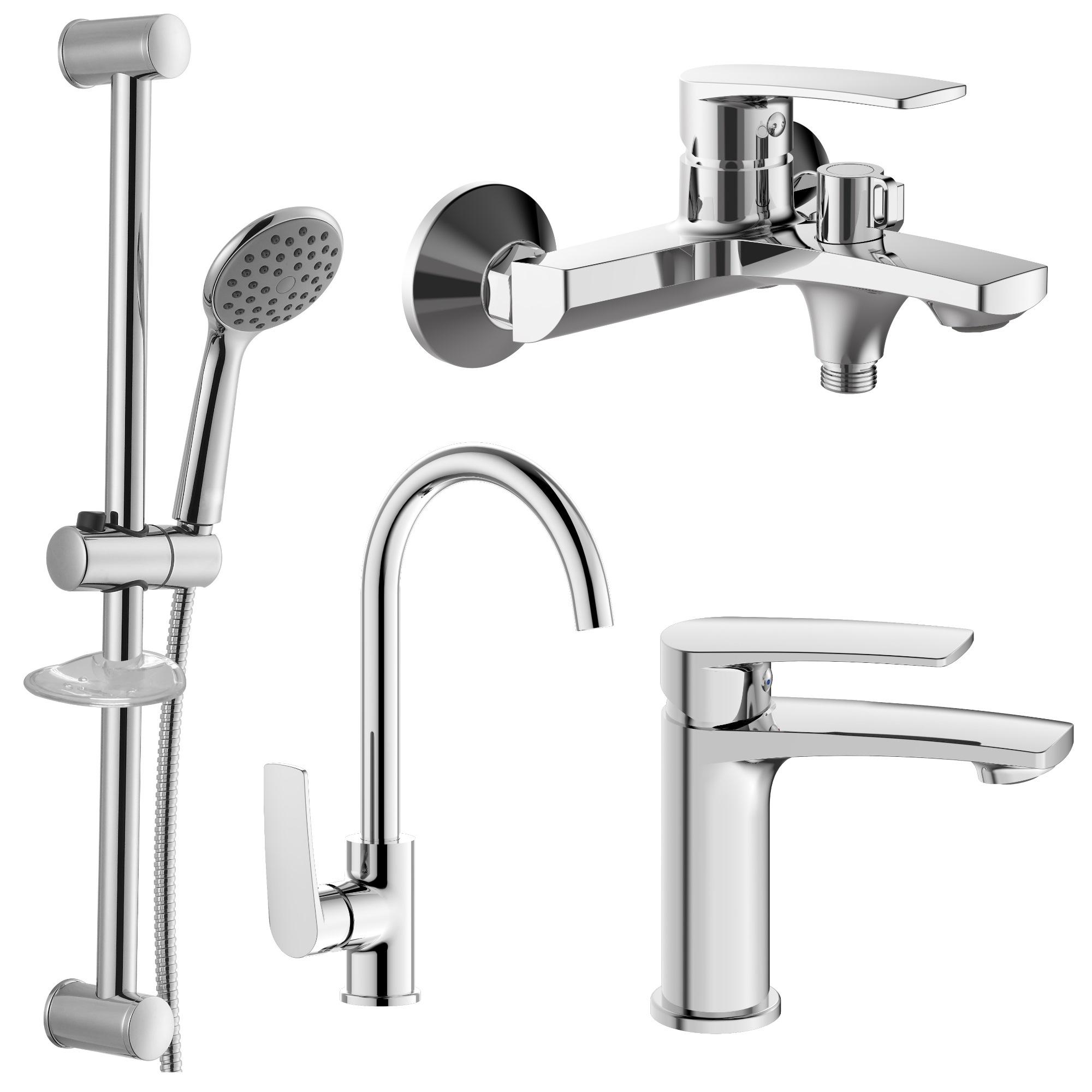 Набор смесителей Imprese Kampa 4 в 1 для ванны и кухни 51028556