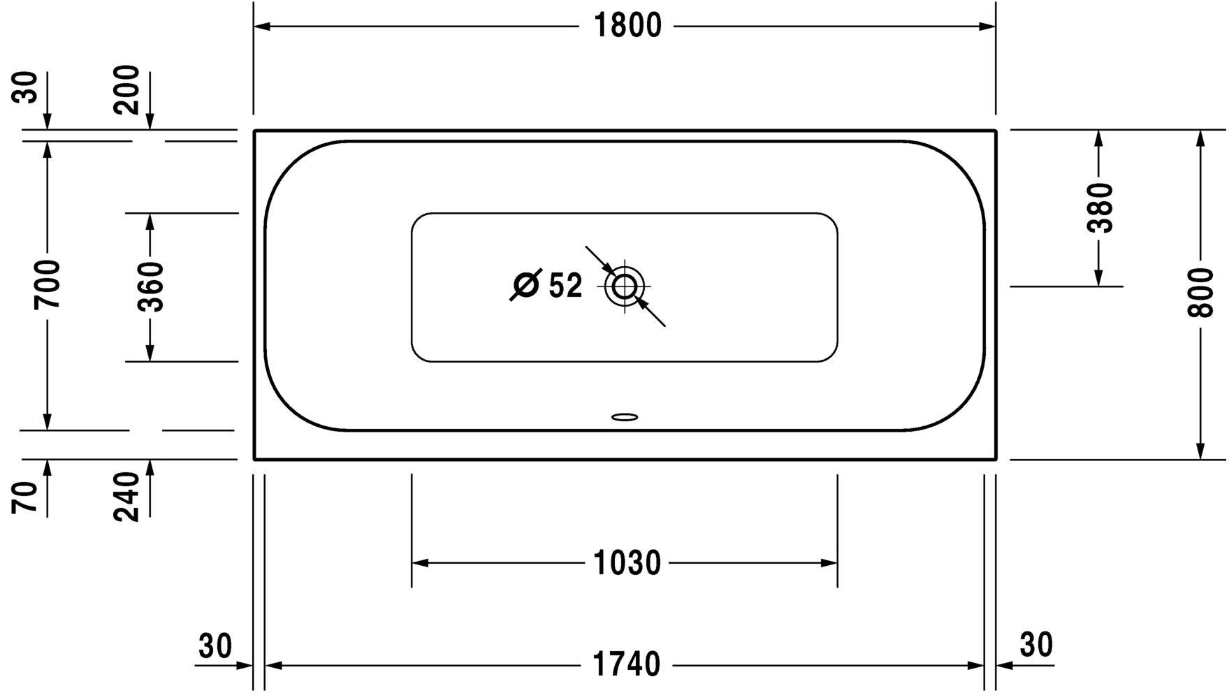 Ванна прямокутний варіант Duravit Happy D.2 700314000000000