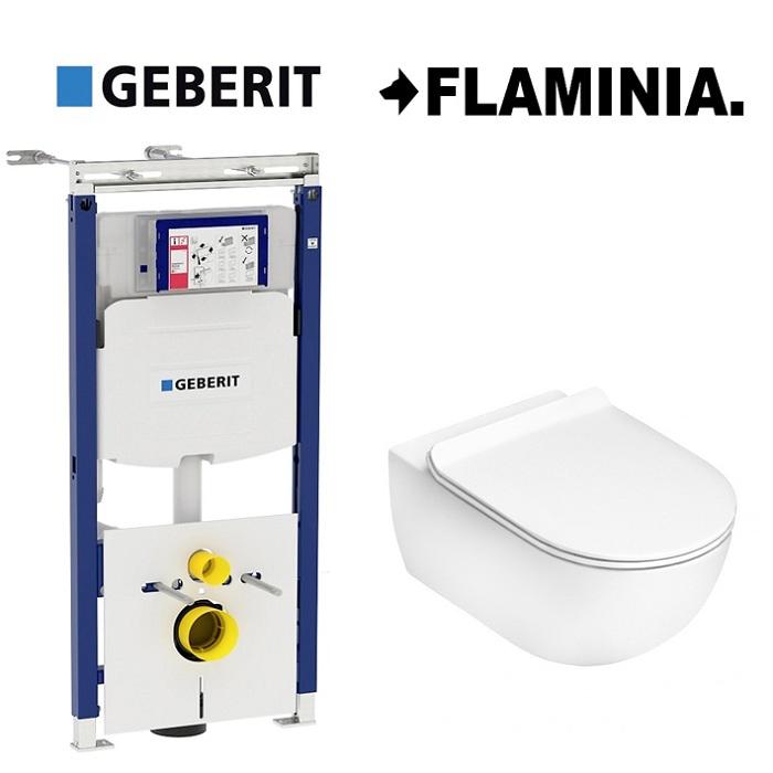 Унитаз Flaminia APP подвесной, безободковый Goclean 54×36 см AP118G+QKCW05+111.362.00.5