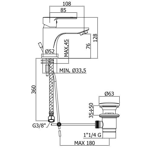 Змішувач одноручковий для умивальника Paffoni Blu на 1 відп. BLU075CR