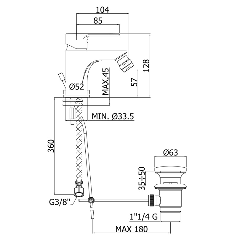Змішувач одноручковий для біде Paffoni Blu на 1 відп. BLU135CR