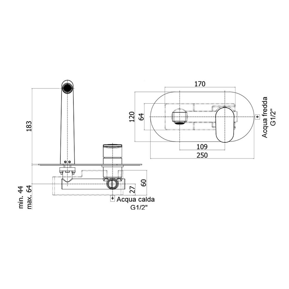 Змішувач одноручковий для раковини Paffoni Candy довжина виливу 183 мм CA101CR