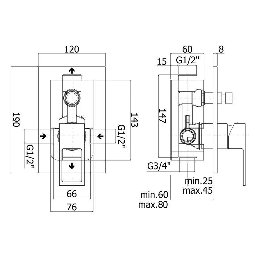 Змішувач для ванни / душа Paffoni Elle в комплекті з внутрішньою частиною EF015CR