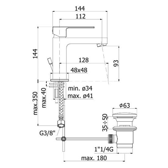 Змішувач одноручковий для умивальника Paffoni Elle на 1 відп. EF075CR