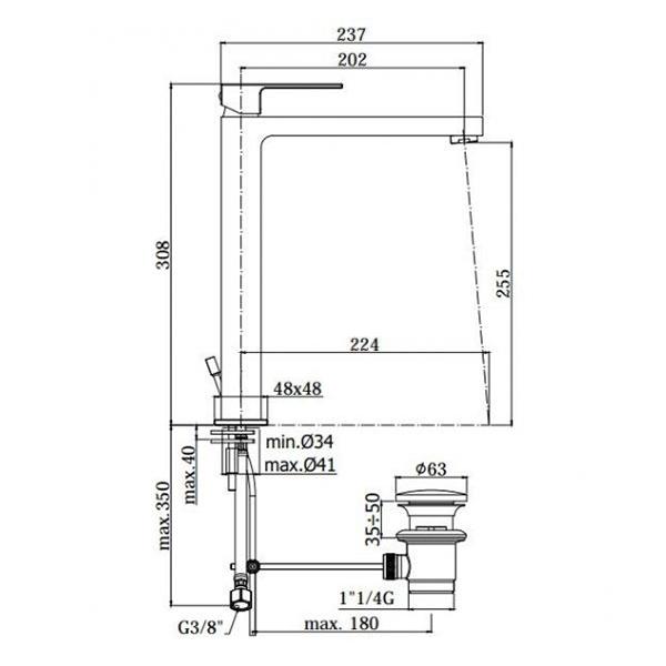 Змішувач високий одноручковий для раковини Paffoni Elle на 1 відп. EF085CR
