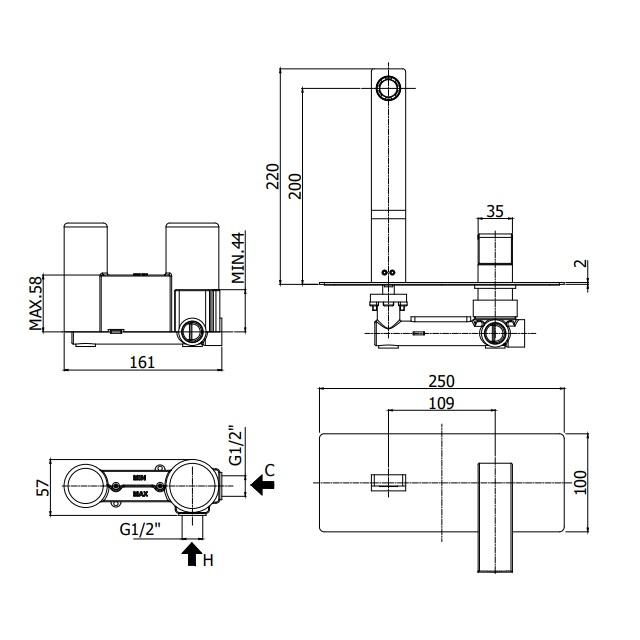 Змішувач для раковини Paffoni Elle з виливом 200 мм EF105CR