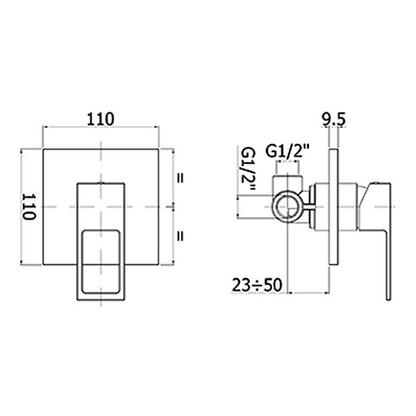 Змішувач для душа Paffoni Elle підходить для внутрішньої частини PBOX 001 EFBOX010CR