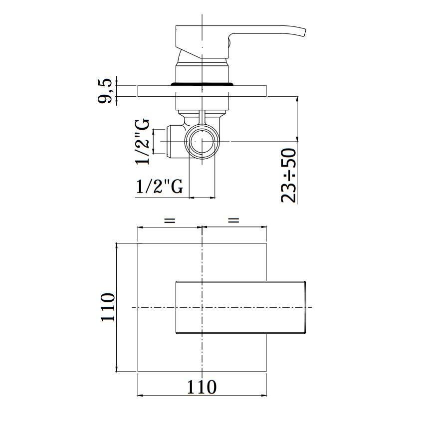 Змішувач для душа Paffoni в комплекті з внутрішньою частиною, на металевої пластині EL010NO / M