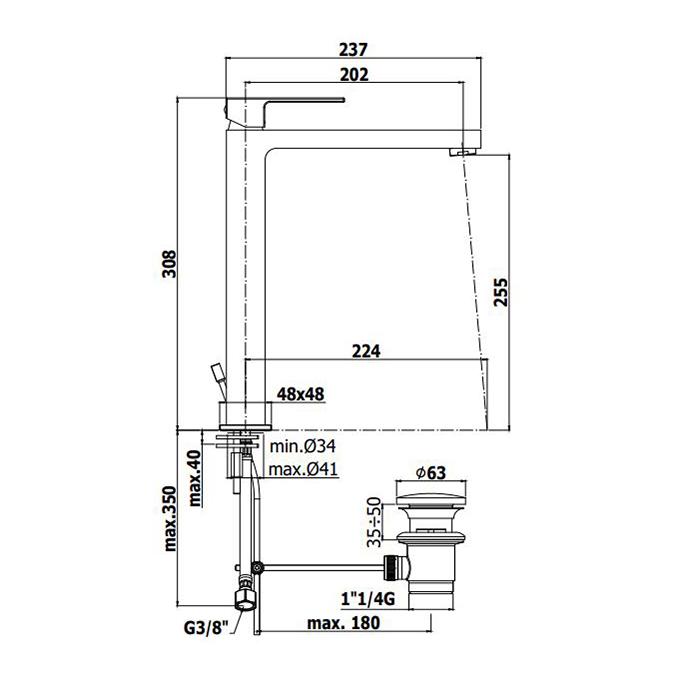 Змішувач високий одноручковий для раковини Paffoni Elle на 1 відп. EL085CR