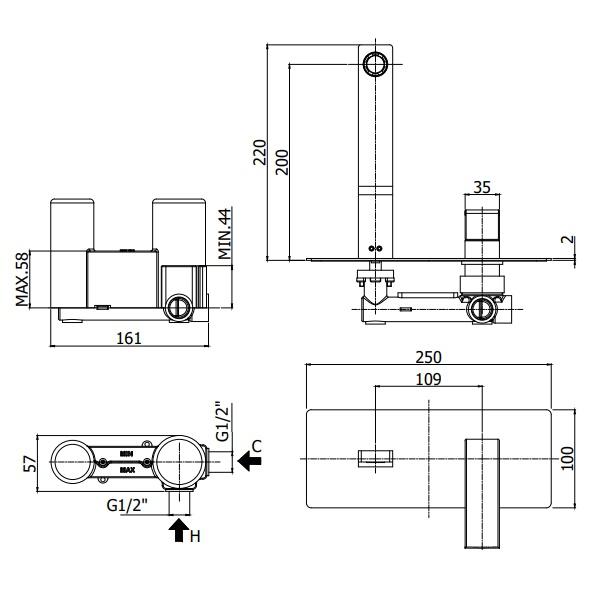 Змішувач для раковини Paffoni Elle з виливом 202 мм, зі стін EL105CR