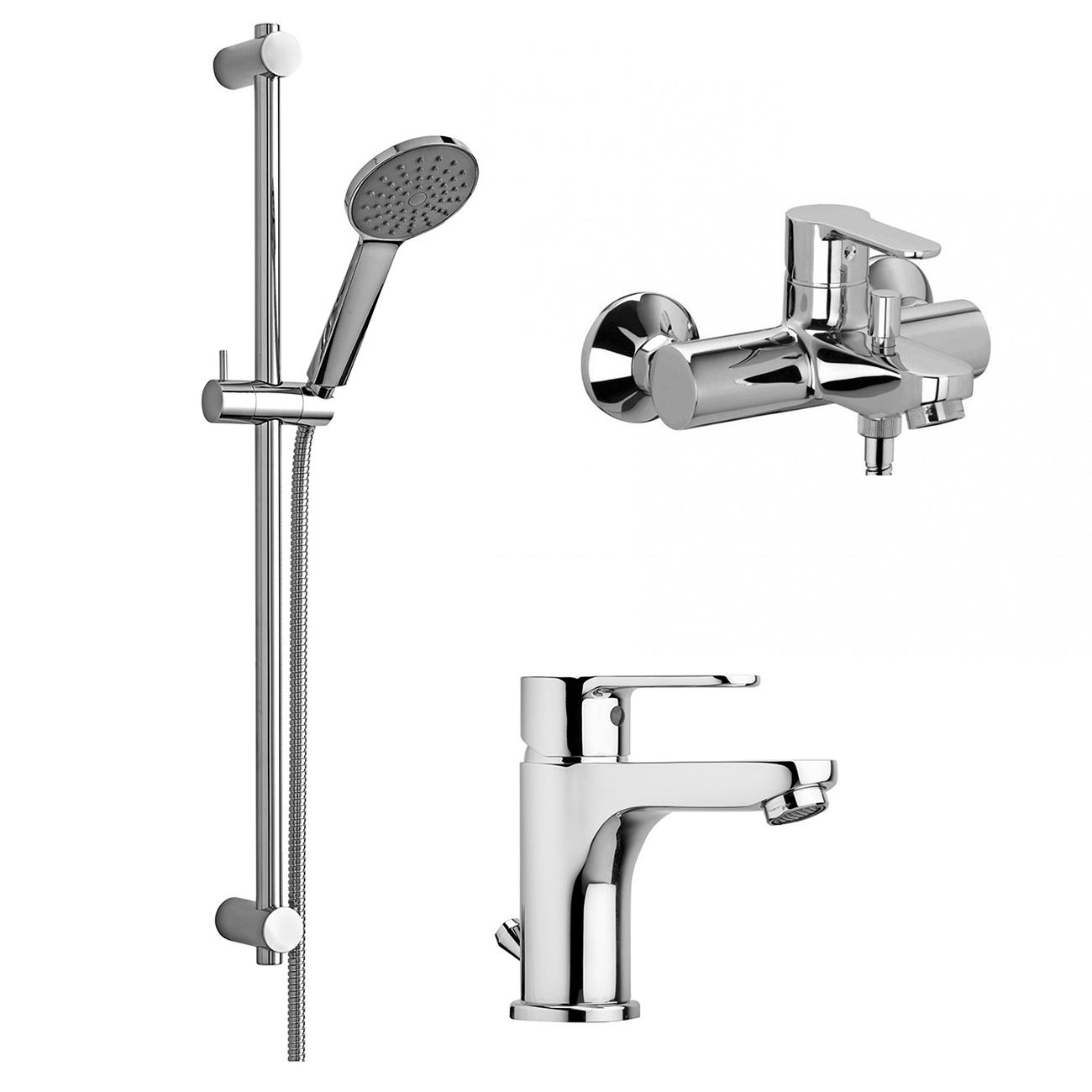 Душовий комплект Paffoni (змішувач для раковини, змішувач для ванни та душової гарнітур) KITBLU