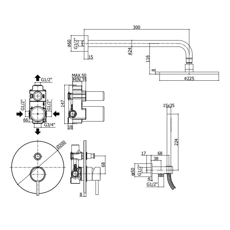 Змішувач для душа Paffoni Light з перемикачем на 2 споживача KITLIG015CR