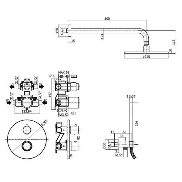 Термостатичний змішувач для душу Paffoni Light з перемикачем KITLIQ018CR