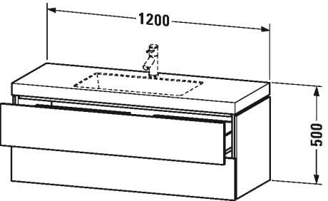 Умивальник меблевий Duravit L-Cube з підвісною тумбочкою c-bonded в комплекті LC6929O2222