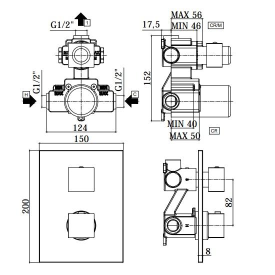 Термостатичний змішувач для душу Paffoni Elle з перемикачем на 1 споживача LEQ513CR