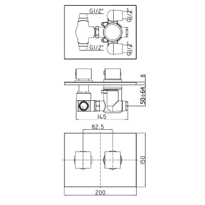 Термостатичний змішувач для душу Paffoni Elle з перемикачем на 3 споживача LEQ519CR / M