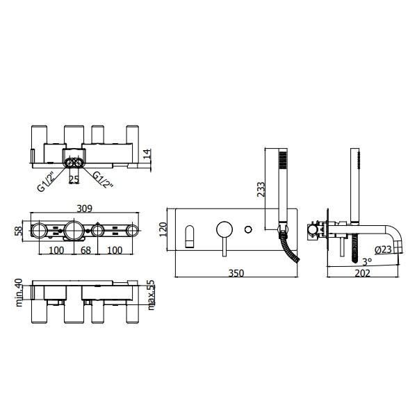 Змішувач для ванни Paffoni зі стіни, в комплекті з душовим гарнітуром LIG001NO