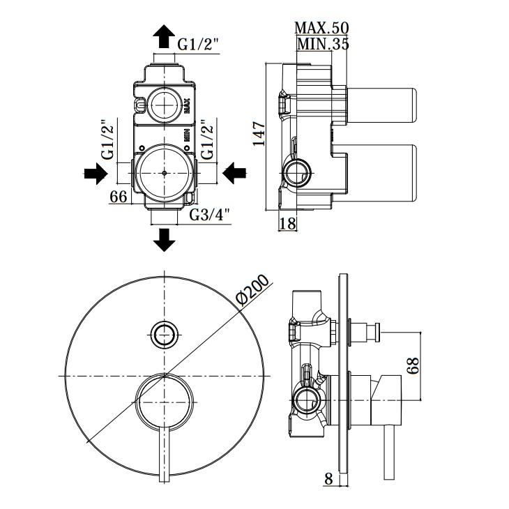 Змішувач для ванни / душа Paffoni Light в комплекті з внутрішньою частиною LIG015CR