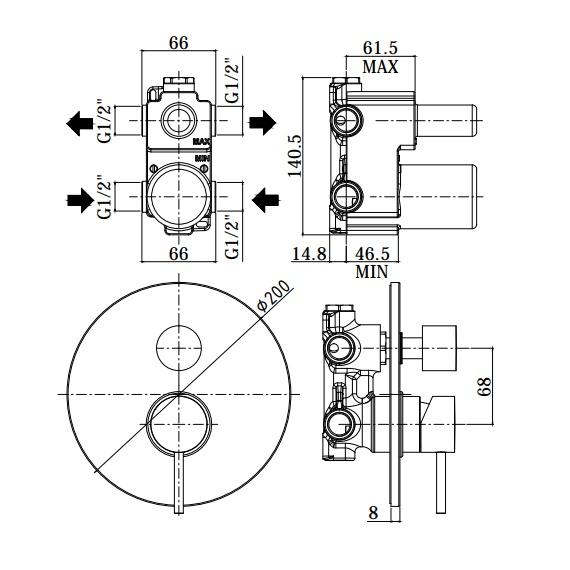Змішувач для душа Paffoni на 2 положення LIG018NO