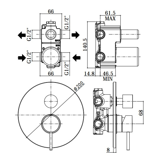 Змішувач для душа Paffoni Light з перемикачем на 3 споживача LIG019CR