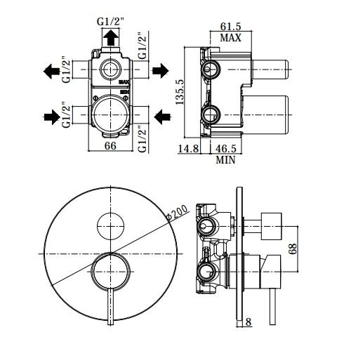Змішувач для душа Paffoni на 3 положення LIG019NO