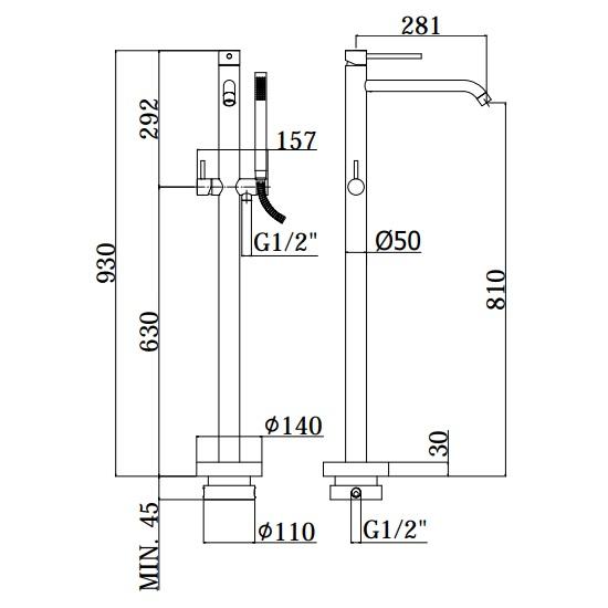 Змішувач для ванни Paffoni Light встановлюється під підлогою з душ-м комплектом LIG032CR