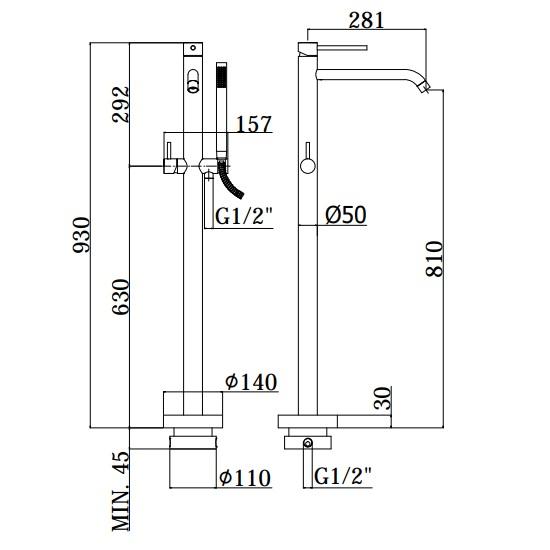 Змішувач для ванни Paffoni Light встановлюється під підлогою LIG032NO + LIG030
