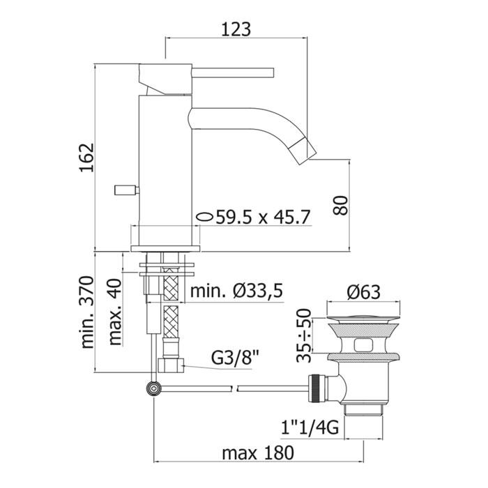 Змішувач для раковини Paffoni Light на 1 відп. з донним клапаном LIG075CR