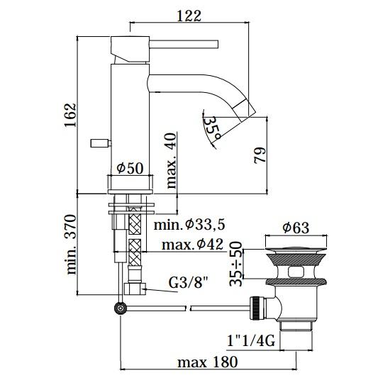 Змішувач для раковини Paffoni на 1 відп. з донним клапаном LIG075NO