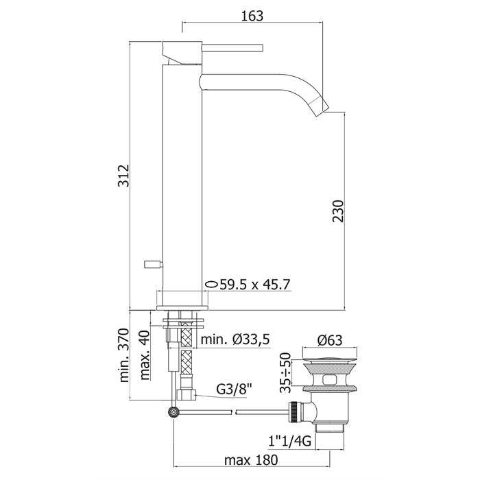 Змішувач для раковини Paffoni Light на 1 відп. з донним клапаном LIG085CR