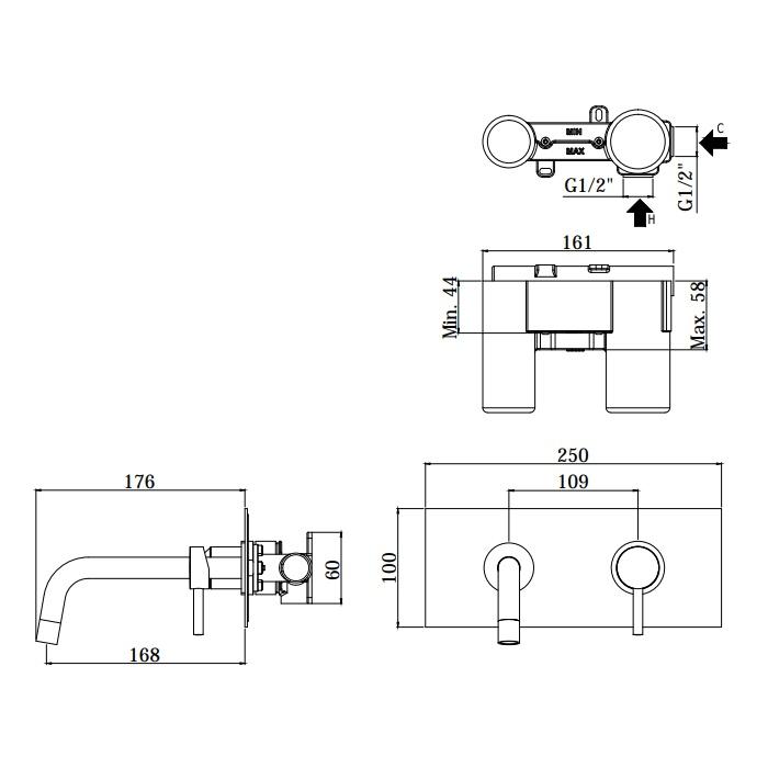 Змішувач для раковини Paffoni Light зі стіни, на металевій пластині LIG101CR / M