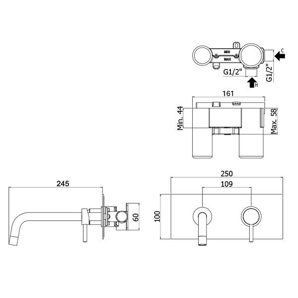 Змішувач для раковини Paffoni Light зі стіни вилив 245 мм LIG103CR / M
