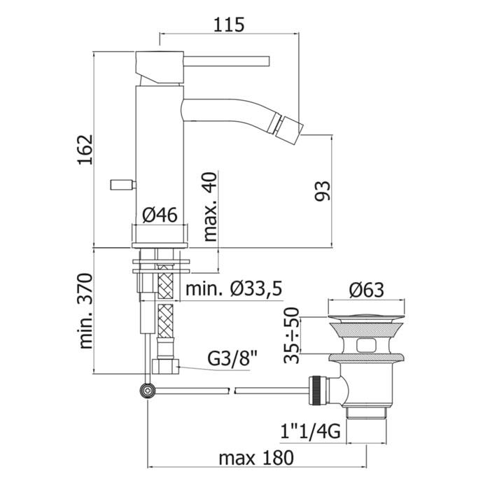 Змішувач для біде Paffoni Light на 1 відп. з донним клапаном LIG135CR