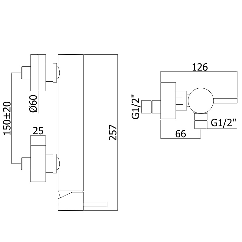 Змішувач для душа Paffoni Light зі стіни в комплекті з душовим гарнітуром LIG168DCR