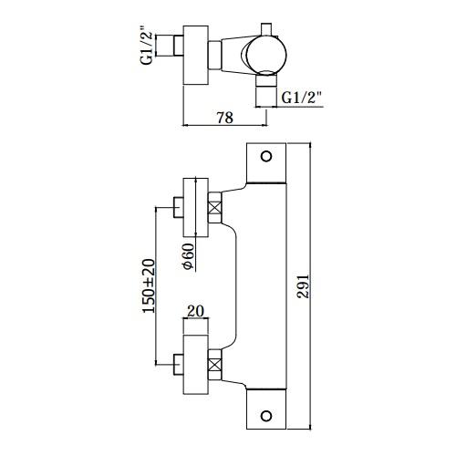 Змішувач для ванни Paffoni зі стіни LIG168NO