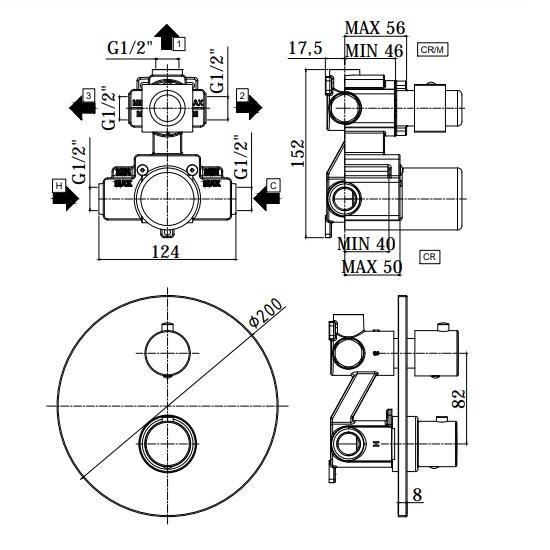 Термостатичний змішувач для душу Paffoni Light з перемикачем на 3 споживача LIQ019CR