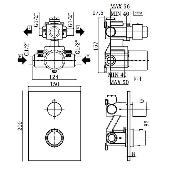 Термостатичний змішувач для душу Paffoni Light з перемикачем на 2 споживача LIQ518CR