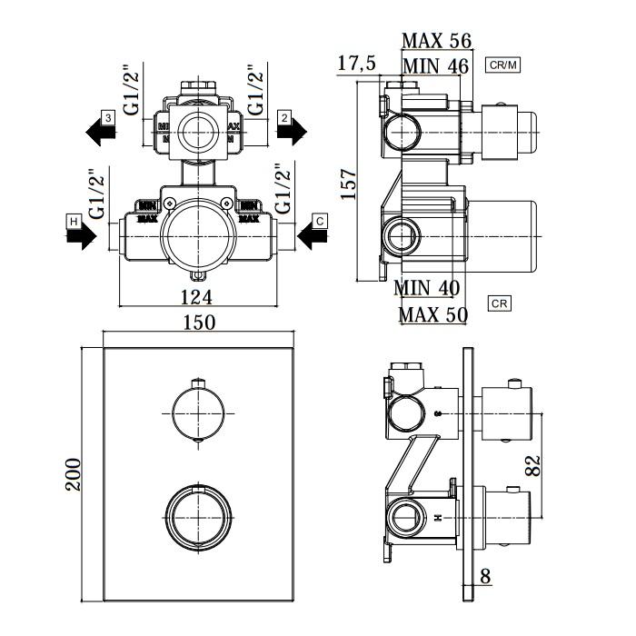 Термостатичний змішувач для душу Paffoni в комплекті з внутрішньою частиною LIQ518NO / M