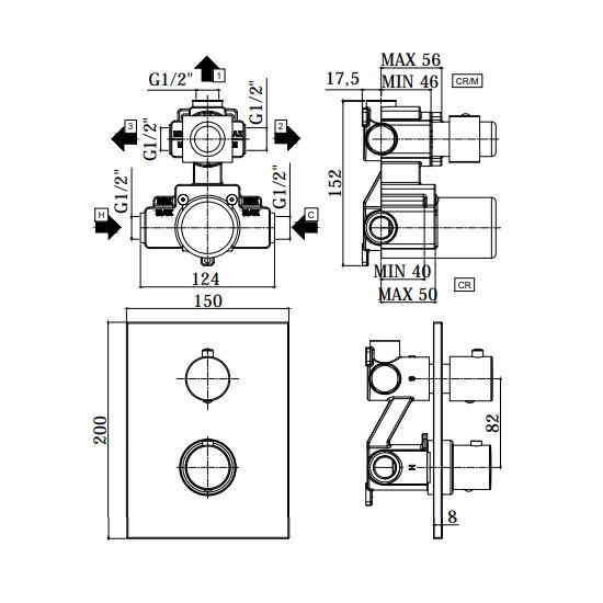 Термостатичний змішувач для душу Paffoni Light з перемикачем на 3 споживача LIQ519CR