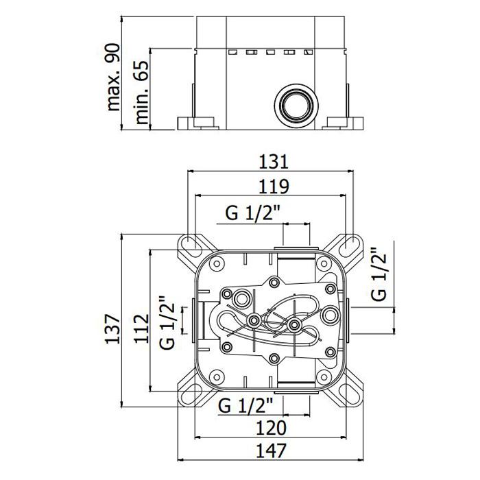 Універсальна внутрішня частина Paffoni для змішувачів ванна / душ і термостатів PBOX001