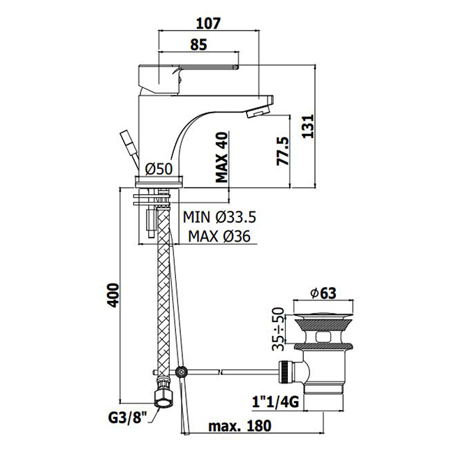 Змішувач одноручковий для умивальника Paffoni Red на 1 відп. з картриджем Energy Saving (економія гарячої води) RED075CR-EWS