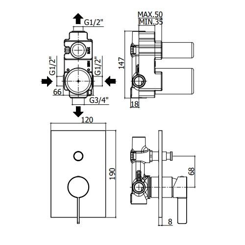Змішувач для ванни / душа Paffoni Rock, на металевій пластині RO015CR / M